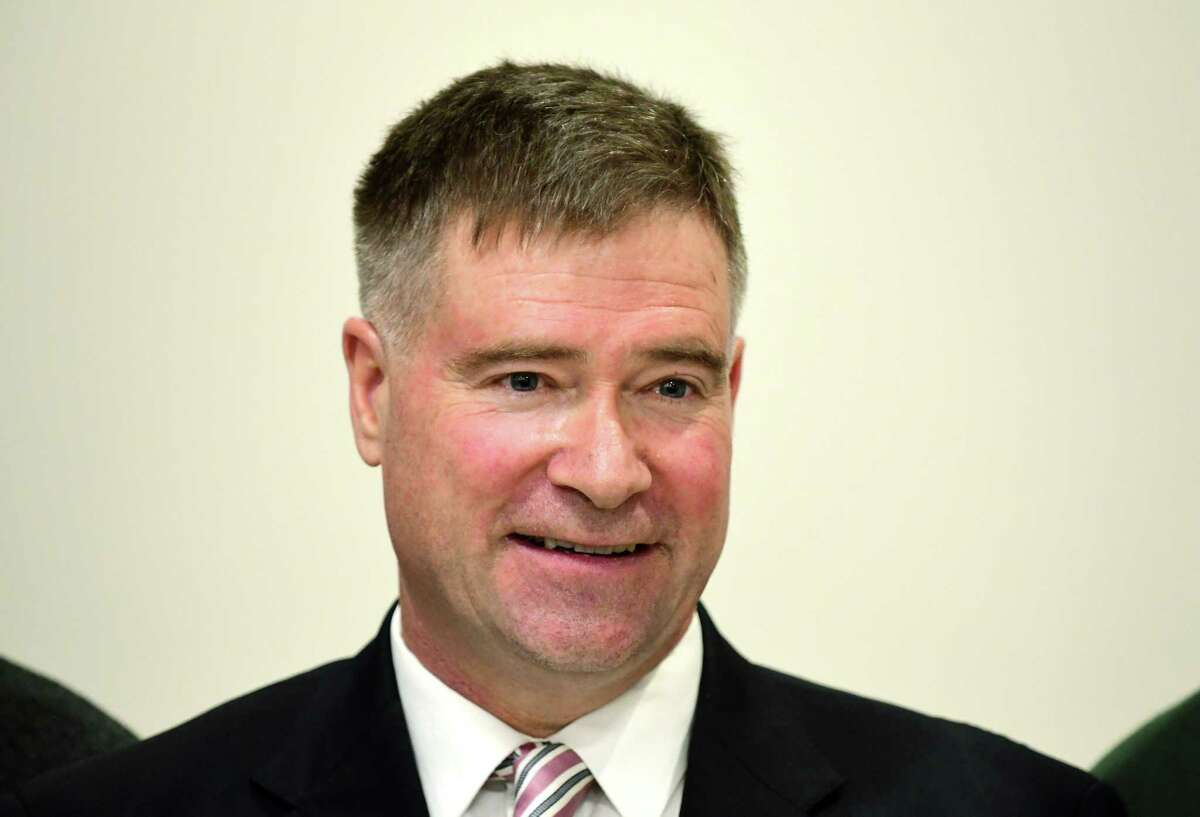 Former U.S. Rep. Chris Gibson on Monday, Jan. 24, 2018, at the Hearst Media Center in Colonie, N.Y. (Will Waldron/Times Union)