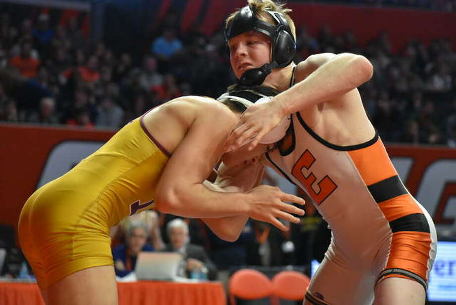 Edwardsville senior Noah Surtin in action during his Class 3A state championship match against Lockport's Matt Ramos.