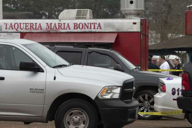 Montgomery County Sheriff's Office investigators process the scene where a man was fatally shot Saturday, Feb. 16, 2019 at Taqueria Maria Bonita in Cut and Shoot.