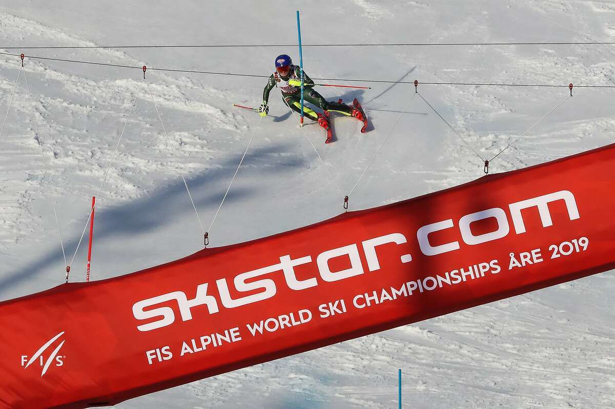 ARE, SWEDEN - FEBRUARY 16: Mikaela Shiffrin of USA competes during the FIS World Ski Championships Women's Slalom on February 16, 2019 in Are Sweden. (Photo by Christophe Pallot/Agence Zoom/Getty Images)