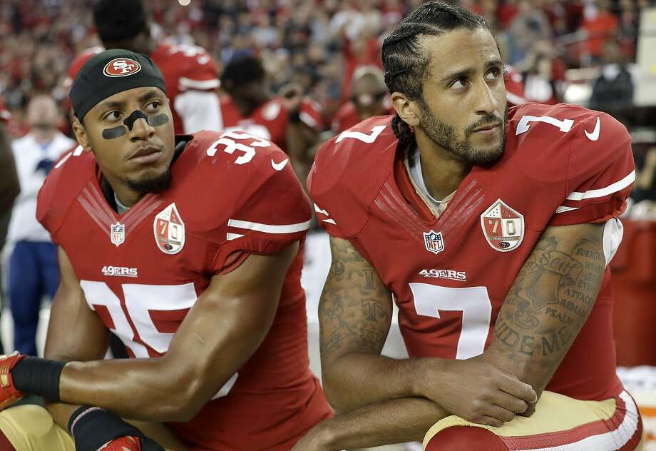 FILE - In this Sept. 12, 2016, file photo, San Francisco 49ers safety Eric Reid (35) and quarterback Colin Kaepernick (7) kneel during the national anthem before an NFL football game against the Los Angeles Rams, in Santa Clara, Calif. Colin Kaepernick and Eric Reid have reached settlements on their collusion lawsuits against the NFL, the league said Friday, Feb. 19, 2019.(AP Photo/Marcio Jose Sanchez, File) Photo: Marcio Jose Sanchez / Associated Press 2016