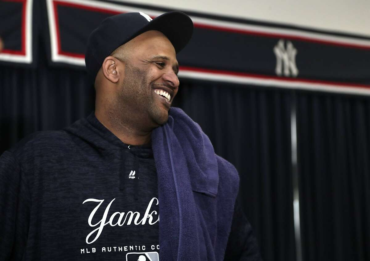 New York Yankees starting pitcher CC Sabathia smiles after a news conference at the New York Yankees spring training baseball facility, Saturday, Feb. 16, 2019, in Tampa, Fla. Sabathia announced he will retire after the 2019 season.(AP Photo/Lynne Sladky)