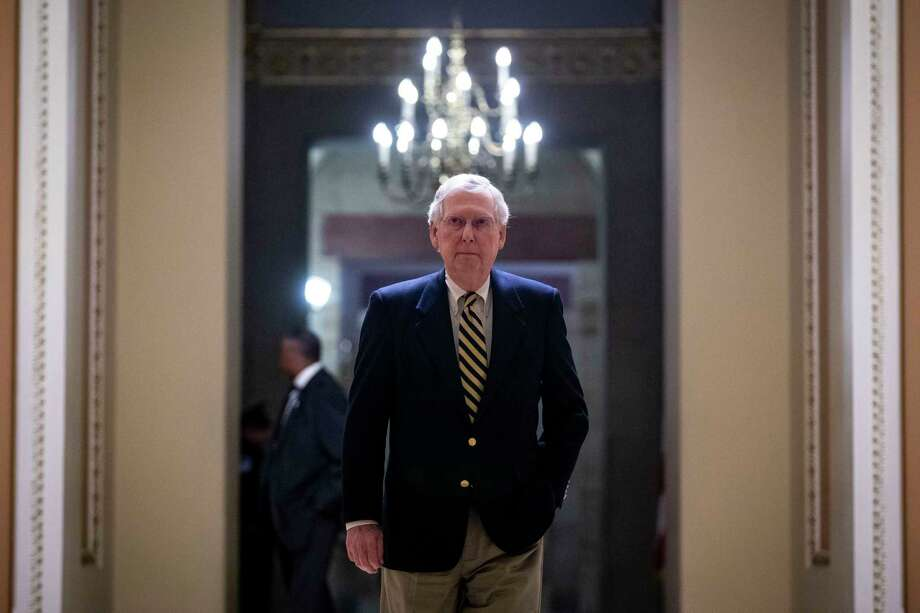 FILE — Senate Majority Leader Mitch McConnell (R-Ky.), on Capitol Hill in Washington, Jan. 14, 2019 in Washington. The president's declaration of a national emergency to fund a border wall has left Senate Republicans sharply divided, and it remains to be seen whether they will act collectively to stop him.  (Al Drago/The New York Times) Photo: AL DRAGO / NYTNS
