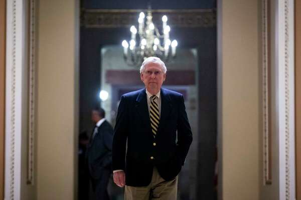 FILE ?- Senate Majority Leader Mitch McConnell (R-Ky.), on Capitol Hill in Washington, Jan. 14, 2019 in Washington. The president?'s declaration of a national emergency to fund a border wall has left Senate Republicans sharply divided, and it remains to be seen whether they will act collectively to stop him. (Al Drago/The New York Times)