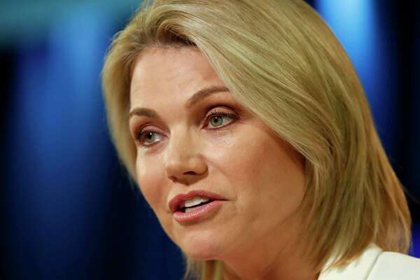 FILE - In this Aug. 9, 2017 file photo, State Department spokeswoman Heather Nauert speaks during a briefing at the State Department in Washington. The State Department says Nauert, picked by President Donald Trump to be the next U.S. ambassador to the United Nations but never officially nominated, has withdrawn her name from consideration on Saturday, Feb. 16, 2019. (AP Photo/Alex Brandon, File)