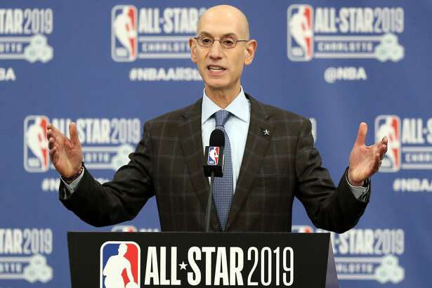 CHARLOTTE, NORTH CAROLINA - FEBRUARY 16: Adam Silver, NBA Commissioner, talks to the media during the NBA All Star Commissioner's Media Availability as part of the 2019 NBA All-Star Weekend at Spectrum Center on February 16, 2019 in Charlotte, North Carolina. (Photo by Streeter Lecka/Getty Images)