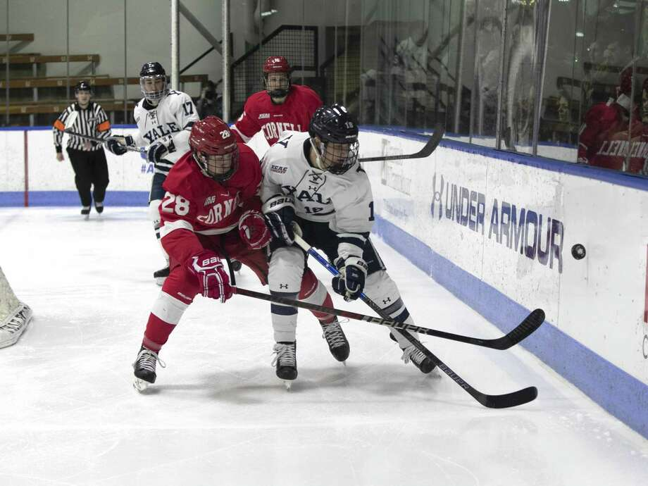 Cornell's Brenden Locke battles Yale's Justin Pearson behind the Cornell net. Photo: Steve Musco / Yale Athletics / ©2018 - 2019 Steve Musco , All rights reserved