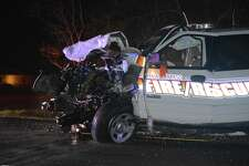 A Orange County Fireman was transported to a local hospital after being stuck by a vehicle in a head-on collision.