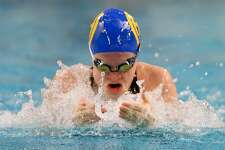 Alamo Height's Elizabeth Walsh swims the breasstroke leg of the girls 200-yard medley relay during the UIL Class 5A state championship at the Jamail Swimming Center at the University of Texas at Austin on Saturday, Feb. 16, 2019. Alamo Heights took second in the event with a time of 1:48.16.