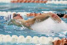 Boerne Champion's Logan Sandidge swims in the boys 100-yard backstroke during the UIL Class 5A state championship at the Jamail Swimming Center at the University of Texas at Austin on Saturday, Feb. 16, 2019. Sandidge finished third in the event with a time of 50.06 seconds,