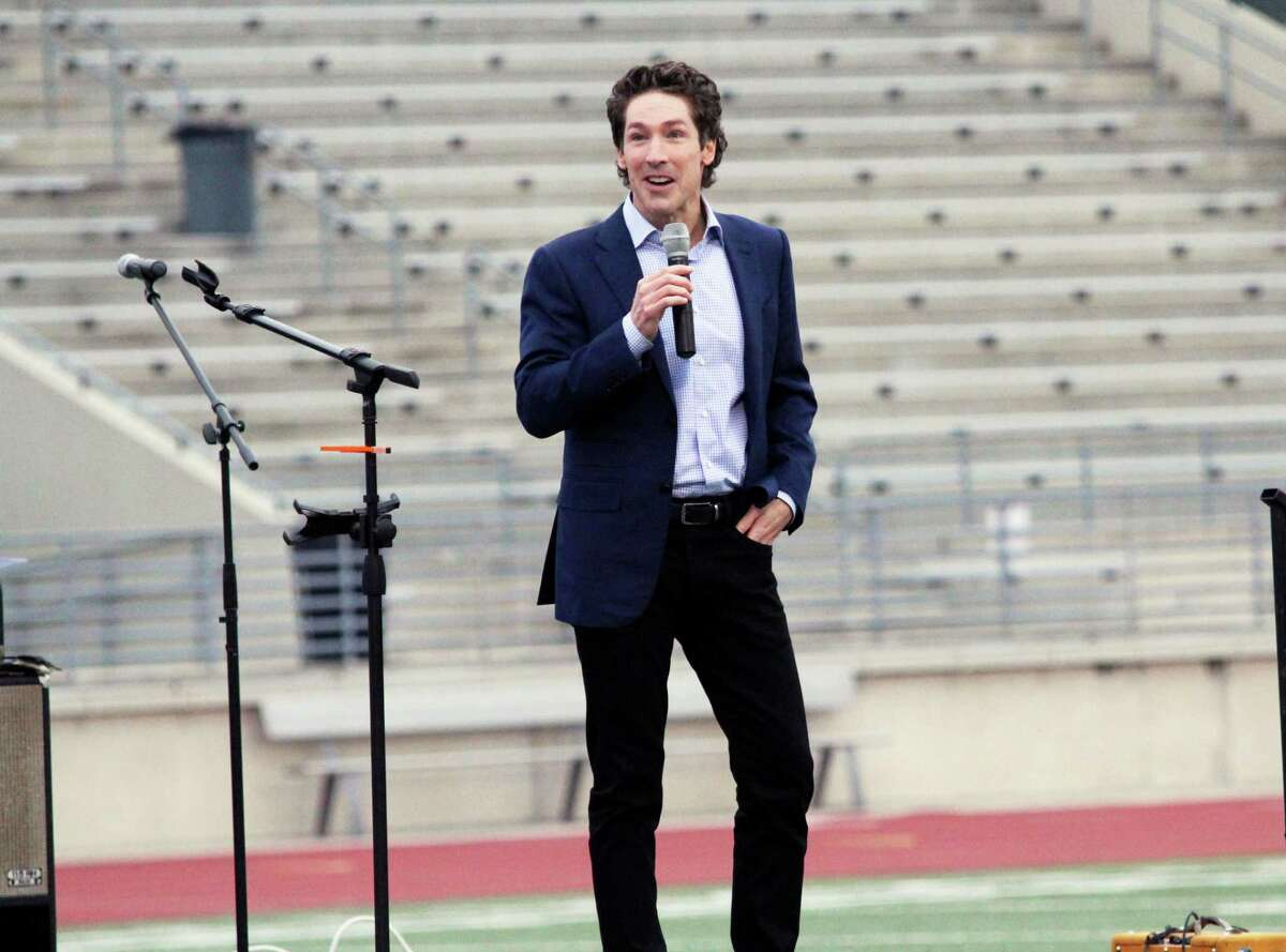 Lakewood Church Pastor Joel Osteen, an Humble High School graduate of 1981, talks at the Humble ISD's Centennial celebration on Feb. 16, 2019 about his experience as a student in Humble ISD.