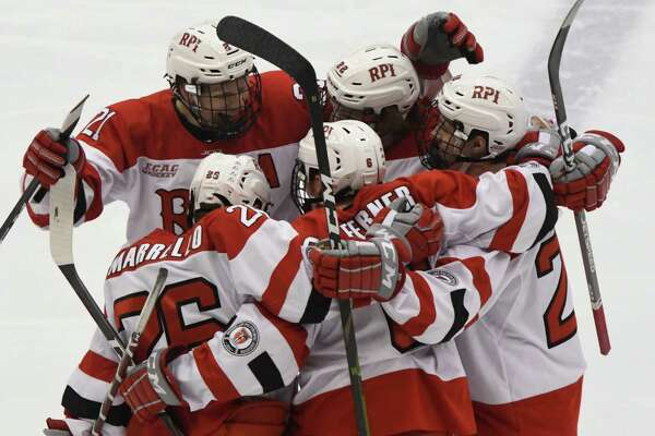 RPI hockey players celebrate their first and only goal just moments into the first period of an ECAC game against Quinnipiac at the Houston Field House on Saturday, Feb. 16, 2019 in Troy, N.Y. (Jenn March, Special to the Times Union)