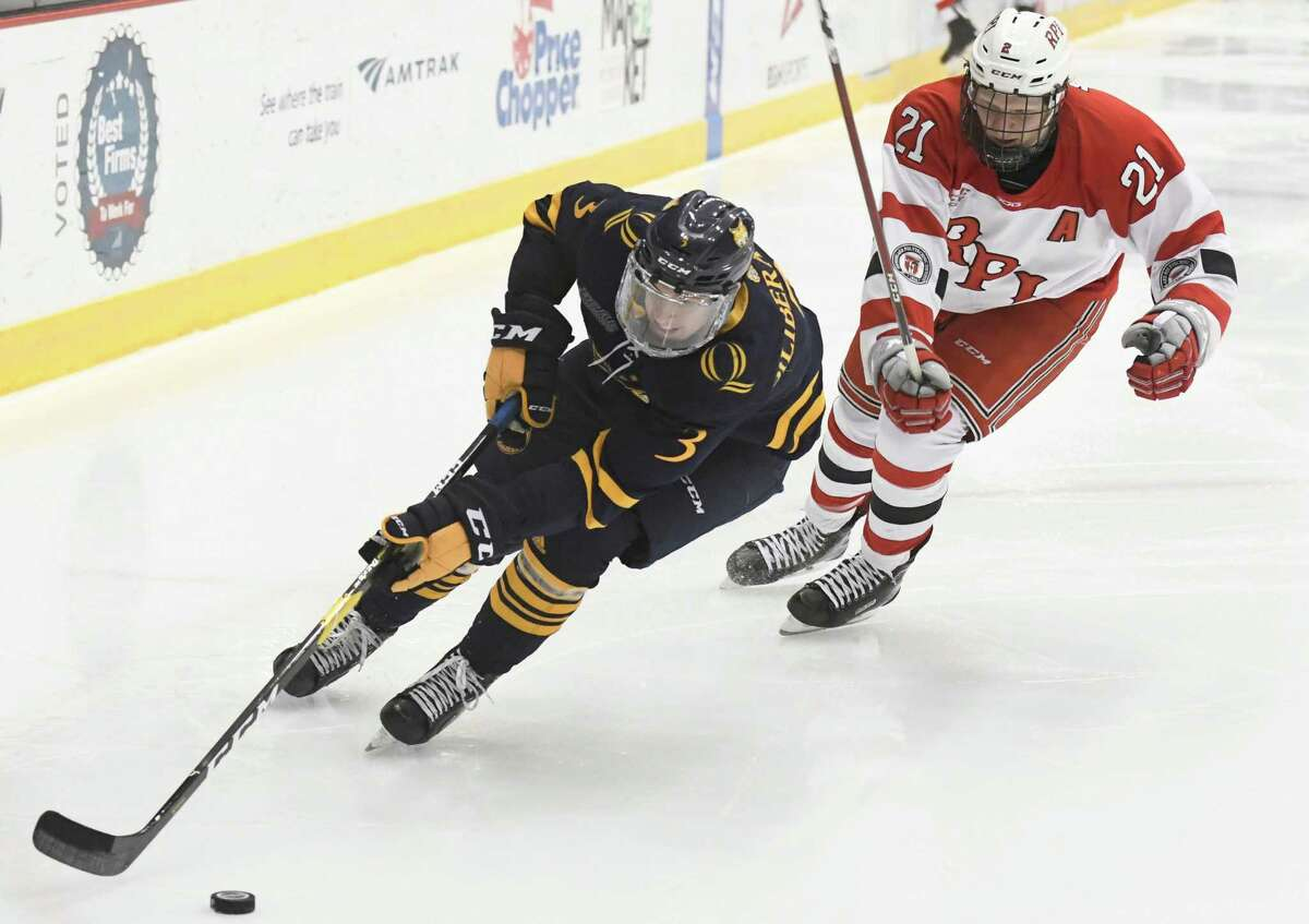 RPI forward Brady Wiffen pursues Quinnipiac defenseman Peter Diliberatore as he moves the puck during an ECAC game at the Houston Field House on Saturday, Feb. 16, 2019 in Troy, N.Y. (Jenn March, Special to the Times Union)