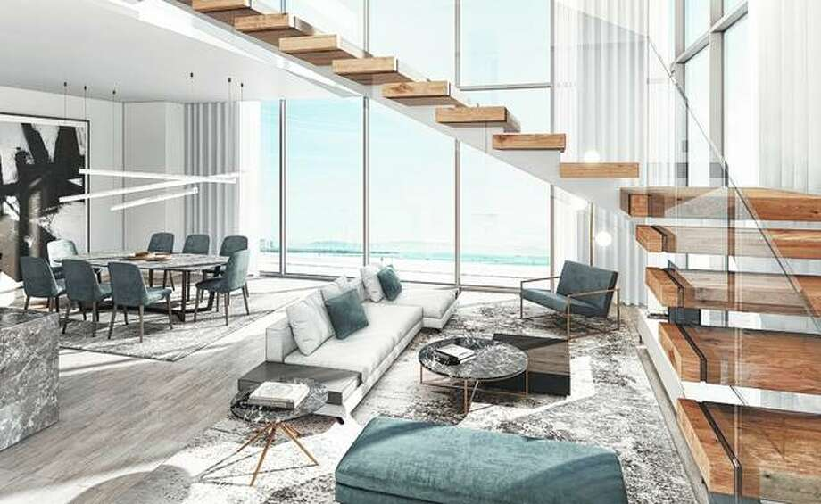 A rendering provided by Perkins+Will Dubai shows the living and dining area in an apartment in Saudi Arabia. Light colored flooring will subtly make a room feel more spacious and luminous, architectural designer Elina Cardet said. Photo: Perkins+Will Dubai Via AP