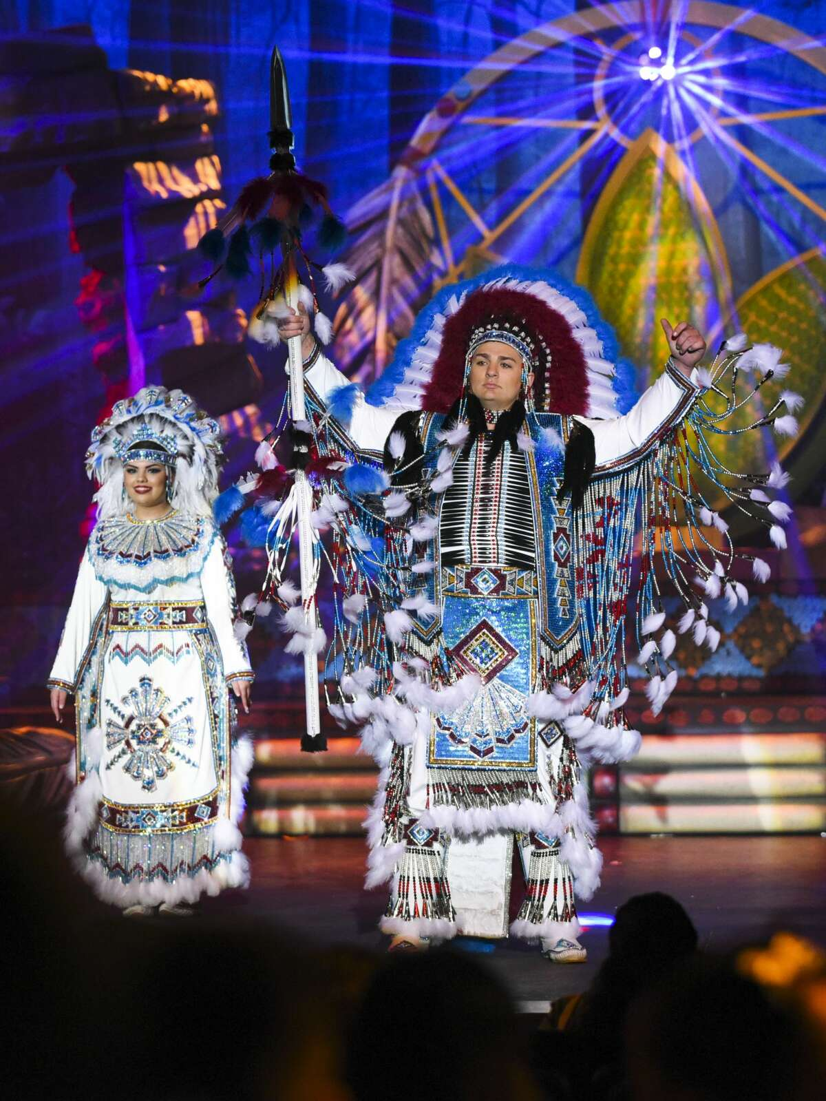 Judith Marie Santos portrays Princess Pocahontas and Cayetano Issac Tijerina portrays Chief White Eagle on Friday, Feb. 15, 2019, during a dress rehearsal for the Princess Pocahontas Pageant at Laredo College's Guadalupe and Lilia Martinez Fine Arts Center Theater.