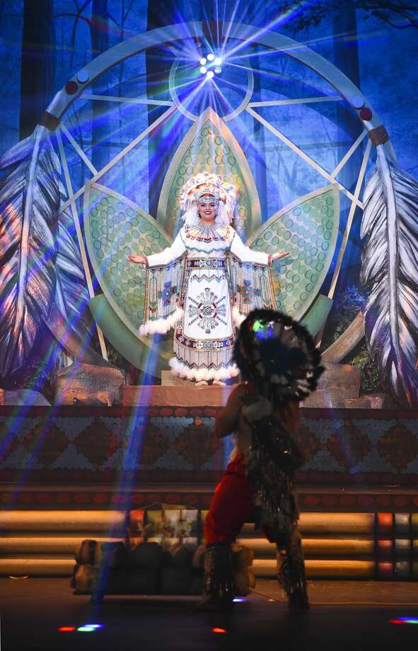 Judith Marie Santos portrays Princess Pocahontas on Friday, Feb. 15, 2019, during a dress rehearsal for the Princess Pocahontas Pageant at Laredo College's Guadalupe and Lilia Martinez Fine Arts Center Theater. Photo: Danny Zaragoza/Laredo Morning Times