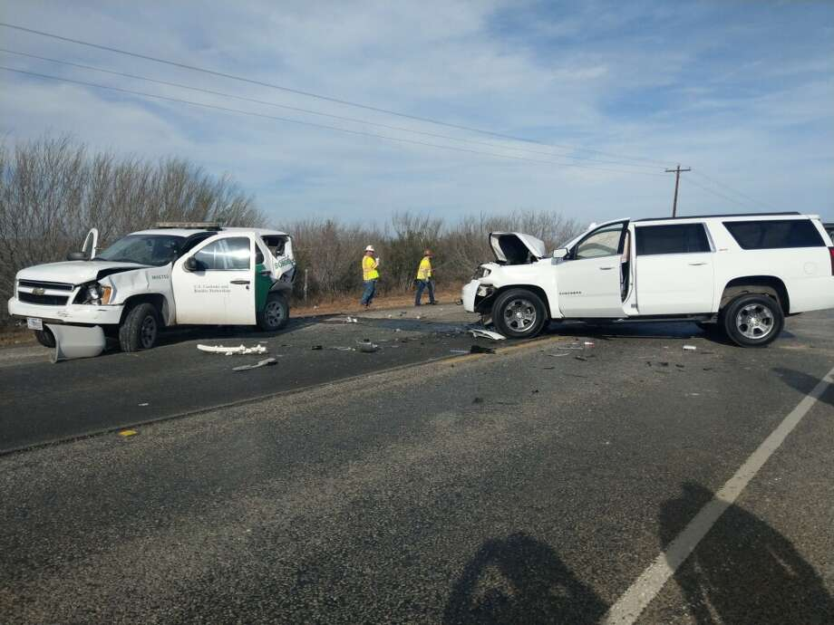 A U.S. Border Patrol unit and a Chevrolet Suburban can be seen with damages on Texas 359, about 8 miles out of Laredo. Photo: Courtesy