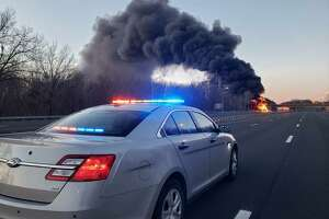 A gas tanker truck caught on fire on I-91 Northbound in Rocky Hill on Sunday morning. The highway was expected to be closed for several hours in both directions.