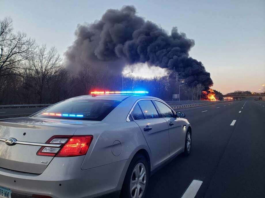A gas tanker truck caught on fire on I-91 Northbound in Rocky Hill on Sunday morning. The highway was expected to be closed for several hours in both directions. Photo: / Connecticut State Police Facebook /Contributed Photo
