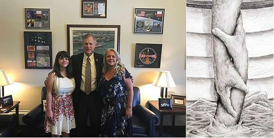 Rep. Babin with 2018 Art Competition winner Juliann Dooley (left) and mother Dana Dooley from Warren, TX. Photo: Submitted
