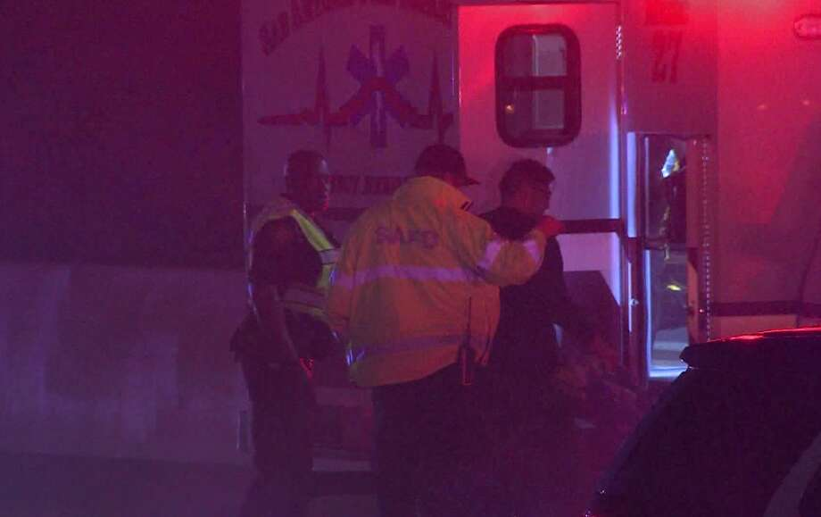 A San Antonio police officer was hospitalized early Sunday, Feb. 17, 2019, after his patrol vehicle was rear-ended as he respond to another traffic incident on the Northwest Side. Photo: 21 Pro Video