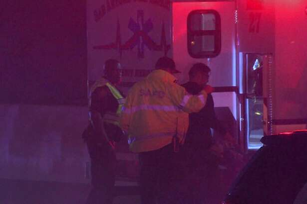 A San Antonio police officer was hospitalized early Sunday, Feb. 17, 2019, after his patrol vehicle was rear-ended as he respond to another traffic incident on the Northwest Side.