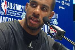 Spurs center LaMarcus Aldridge answers a question at All-Star Media Day in Charlotte.