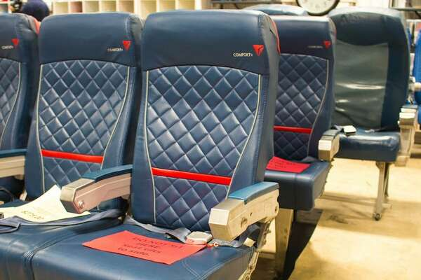 Delta Air Lines has a monthly warehouse sale with everything from old seats to airplane toilets.