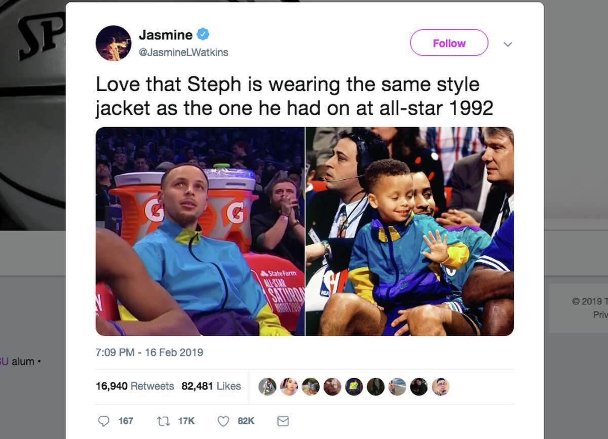 Golden State Warriors guard Steph Curry got nostalgic during the 2019 All-Star weekend in his hometown of Charlotte, wearing an almost identical jacket to one he wore at the 1992 All-Star game. Click through to see more images from Steph Curry's return home for the 2019 All-Star weekend. >>>