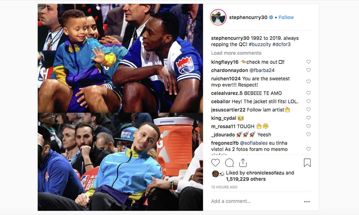 Golden State Warriors guard Steph Curry got nostalgic during the 2019 All-Star weekend in his hometown of Charlotte, wearing an almost identical jacket to one he wore at the 1992 All-Star game.