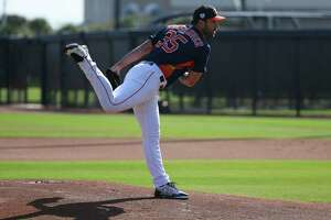 Houston Astros right handed pitcher Justin Verlander (35) pitches during live batting practice at Fitteam Ballpark of The Palm Beaches on Day 4 of spring training on Sunday, Feb. 17, 2019, in West Palm Beach.