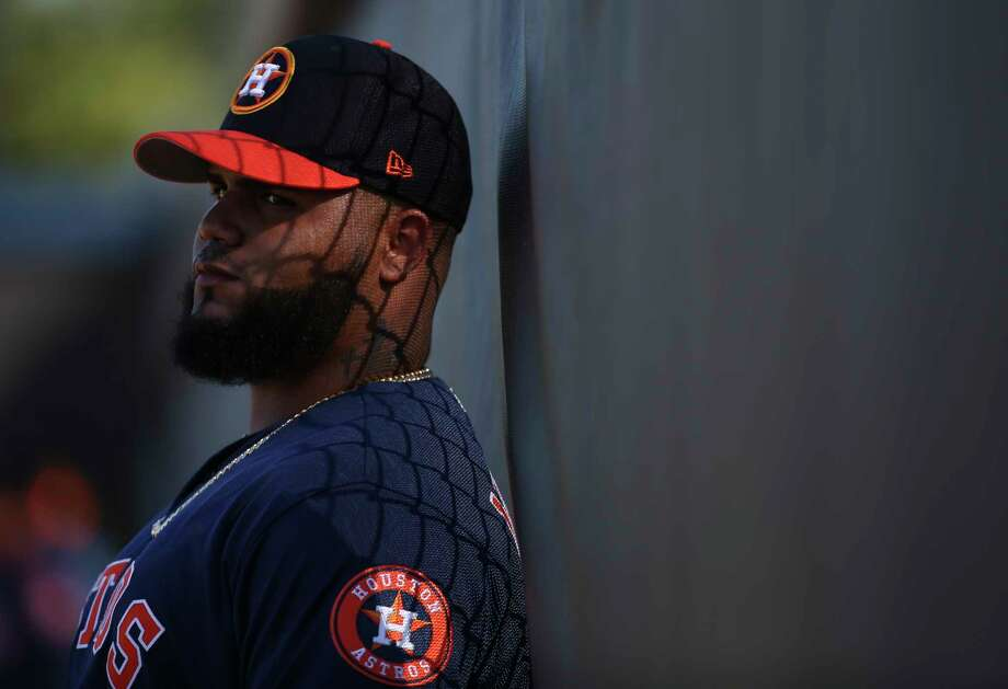 PHOTOS: Houston Astros 2019 fan giveaways  Houston Astros right handed pitcher Francis Martes (58) takes some time for himself against the fence during the warm-up session at Fitteam Ballpark of The Palm Beaches on Day 4 of spring training on Sunday, Feb. 17, 2019, in West Palm Beach.  >>>See the remaining Astros fan freebies this season at Minute Maid Park ...  Photo: Yi-Chin Lee, Houston Chronicle / © 2019 Houston Chronicle