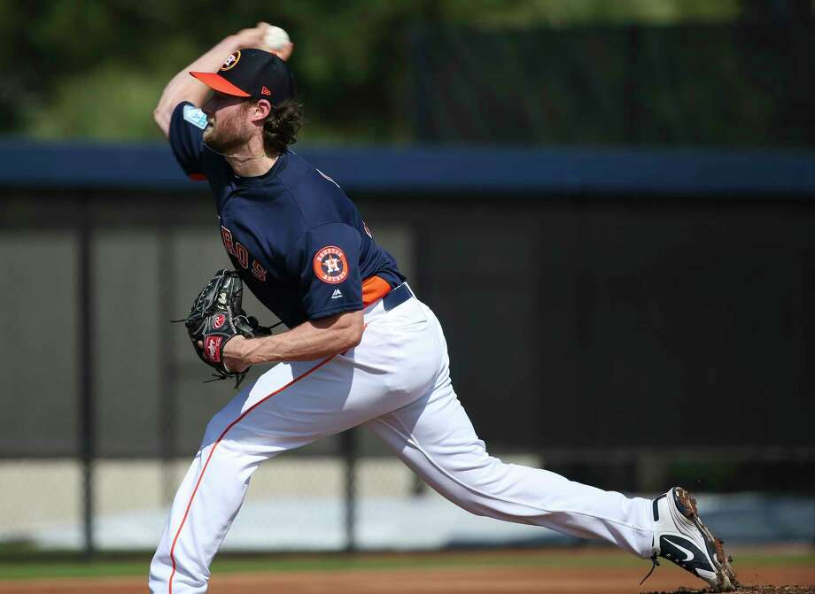 Houston Astros right handed pitcher Gerrit Cole (45) pitches during live batting practice at Fitteam Ballpark of The Palm Beaches on Day 4 of spring training on Sunday, Feb. 17, 2019, in West Palm Beach. Photo: Yi-Chin Lee, Houston Chronicle / © 2019 Houston Chronicle