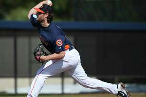 Houston Astros right handed pitcher Gerrit Cole (45) pitches during live batting practice at Fitteam Ballpark of The Palm Beaches on Day 4 of spring training on Sunday, Feb. 17, 2019, in West Palm Beach.