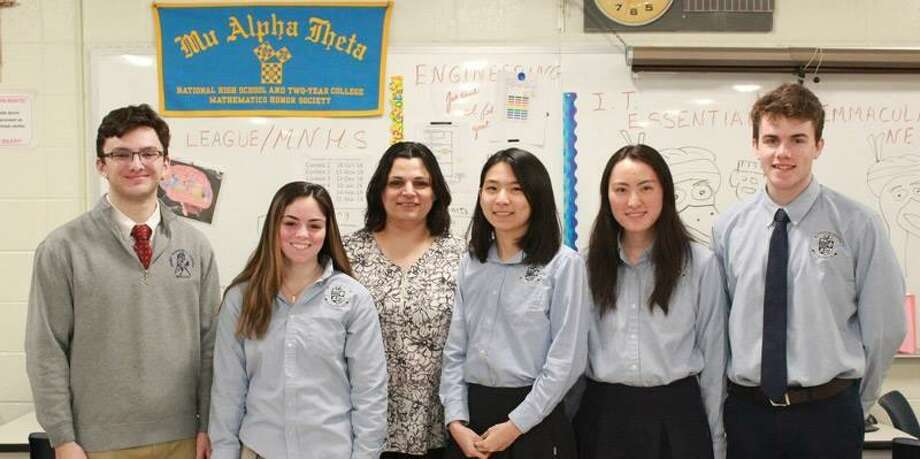 A team of Immaculate High School engineering students won the state-level 2019 Real World Design Challenge, an annual competition run by public and private partnerships that work together to build a solid foundation for the future STEM workforce. James Vigar '19, Mackenzy Garden '19, teacher and coach Jeanine Antonios, Yuxuan Brittany Hu '19, Ruining Nancy Yang '19 and Keelan Doherty '20. Photo: / Contributed Photo