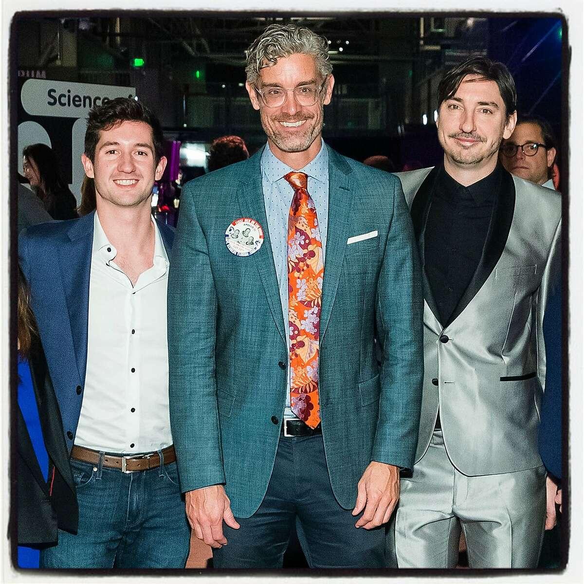 Zach Cogan (left) with Exploratorium Director Chris Flink and Doug Dalton at the Science of Cocktails fundraiser. Feb. 8, 2019