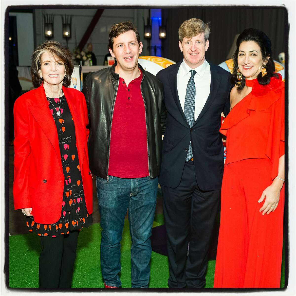 """""""Hearts in SF"""" cochair Judy Guggenhime (left) with Andrew McCollum, Patrick Kennedy and Pam Baer at Pier 48. Feb. 13, 2019"""