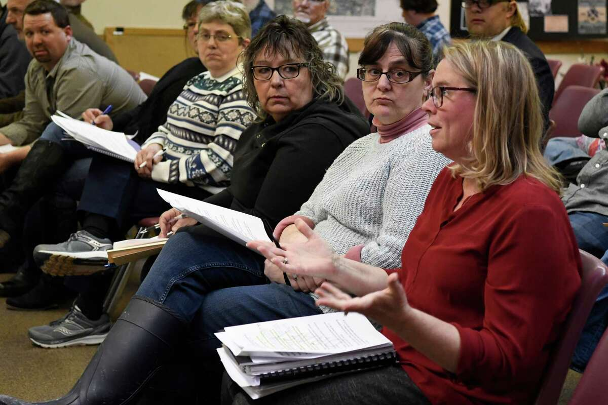A supporter of Supervisor Scott Ostrander speaks to the Milton town board during a town meeting held at the town hall on Wednesday, Jan. 30, 2019 in Milton, N.Y. (Jenn March, Special to the Times Union)