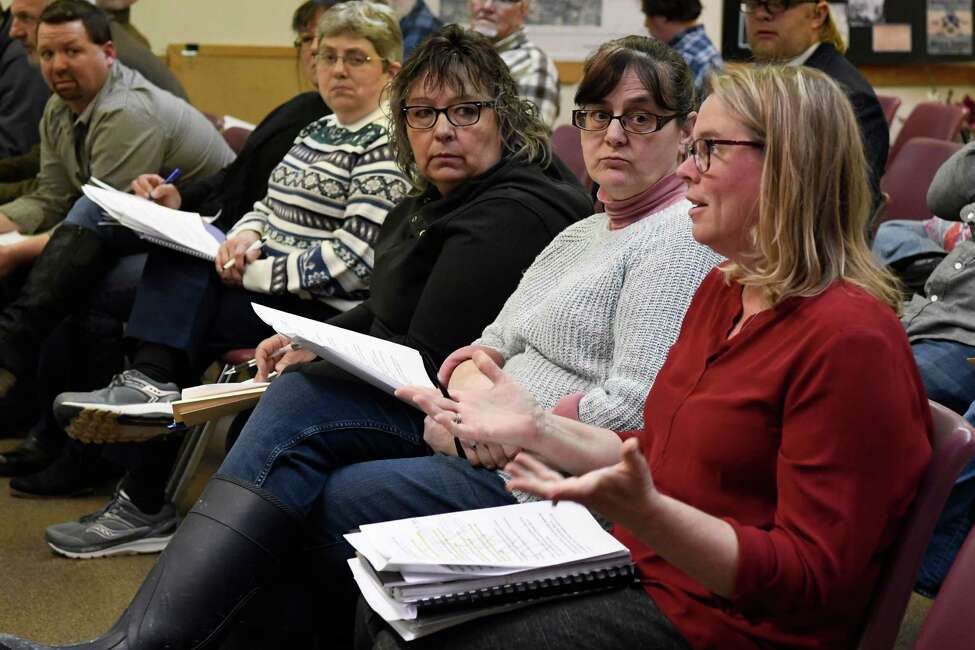 Former Milton supervisor confidential secretary Shannon Doherty, third from right, sent a text message to new Supervisor Benny Zlotnick saying that there were confidential files on the computers. She is seen here at a Wednesday, Jan. 30, 2019 town board meeting in Milton. (Jenn March, Special to the Times Union)