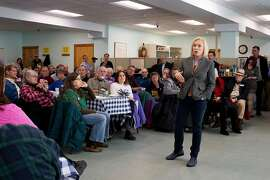 Sen. Kirsten Gillibrand (D-N.Y.) speaks to a crowd at the Community Kitchen during a campaign stop in Keene, N.H., Feb. 16, 2019. (Elizabeth Frantz/The New York Times)