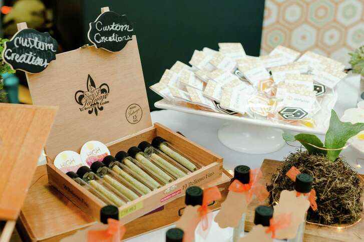 Elefante Inc. of San Francisco offers fancy joints and vegan gummies at the Cannabis Wedding Expo held at Westfield San Francisco Centre.