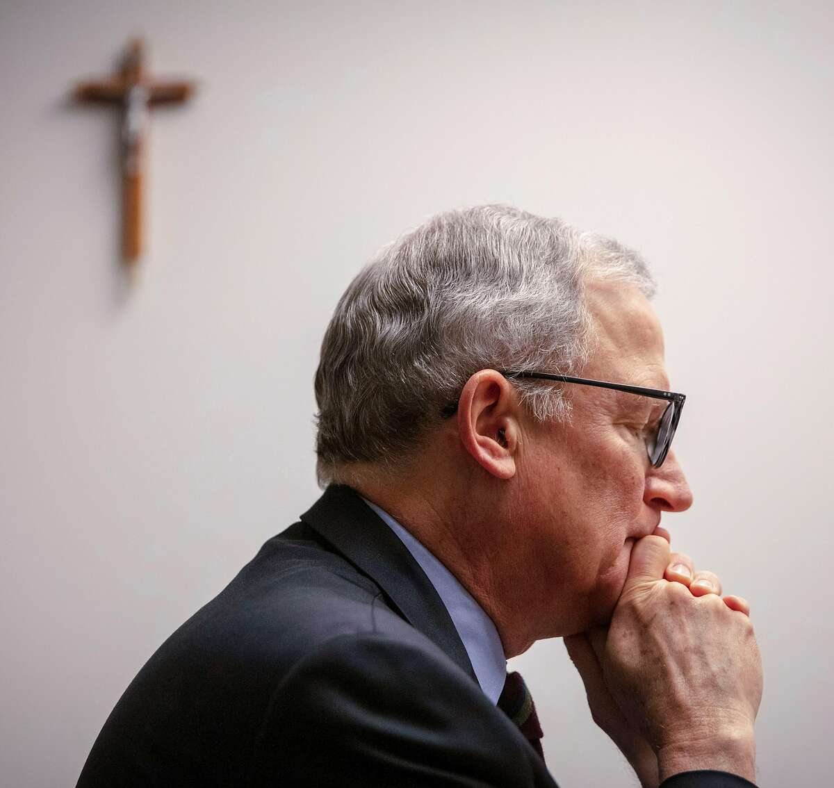 Stephan Wilcox, Chancellor of the Oakland Catholic diocese, released the names of priests, decons and religious brothers credibly accused of sexual abuse of a minor at the Oakland Catholic diocese in Oakland, California, USA 17 Feb 2019. (Peter DaSilva/Special to The Chronicle)