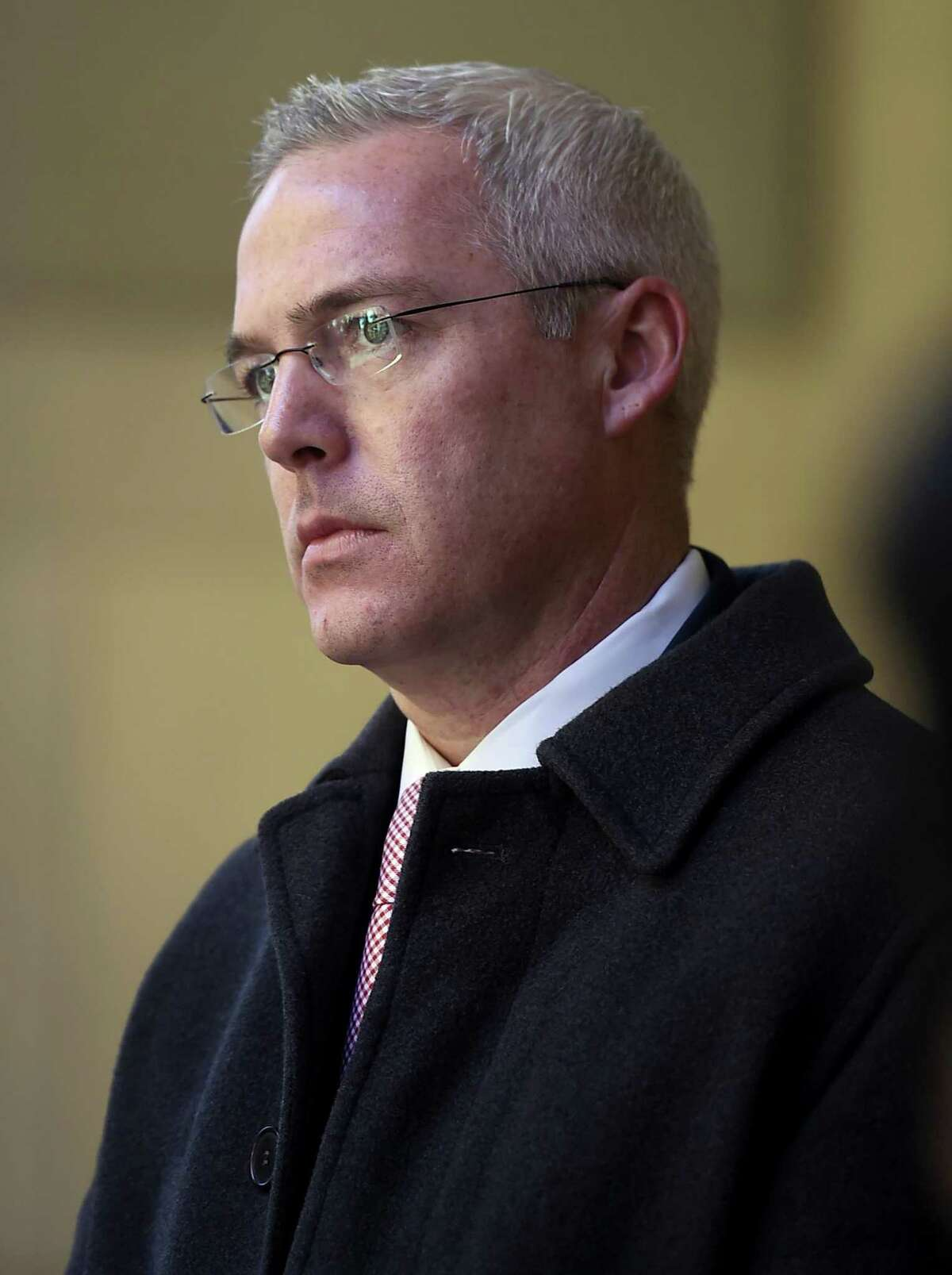 Ryan Drajewicz, a senior management associate at Bridgewater Associates, will be the Connecticut's new governor-elect Ned Lamont's transition team executive director at the State Capitol in Hartford, Conn., Thursday, Nov. 8, 2018. (AP Photo/Jessica Hill)