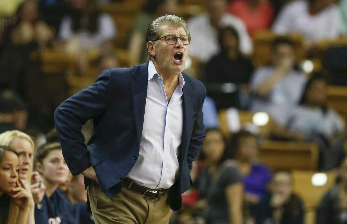 UConn coach Geno Auriemma calls a play against UCF on Feb. 17.