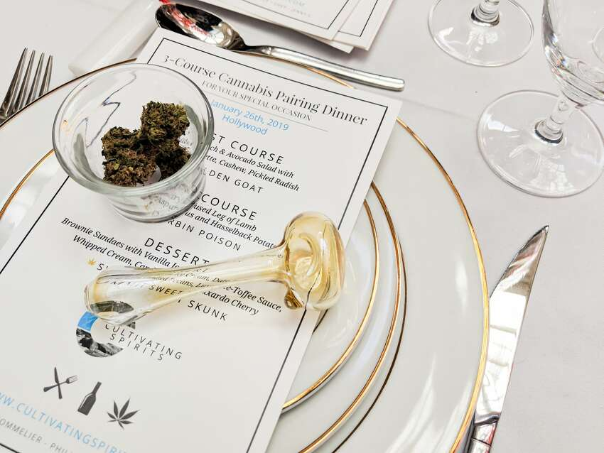 Cultivating Spirits, one of the vendors at the Cannabis Wedding Expo held at Westfield Mall in San Francisco on Sunday, Feb. 17, 2019, offers a three-course cannabis dinner pairing.