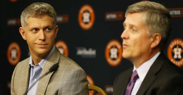 Astros General Manager Jeff Luhnow and Director of Amateur Scouting Mike Elias speak to the media about the 2015 First-Year Player Draft during a press conference before the start of an MLB game at Minute Maid Park on Thursday, June 4, 2015, in Houston. ( Karen Warren / Houston Chronicle )