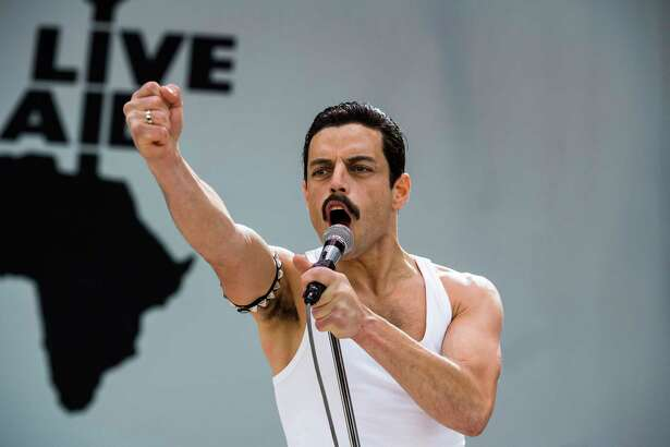 "This image released by Twentieth Century Fox shows Rami Malek in a scene from ""Bohemian Rhapsody."" On Tuesday, Jan. 22, 2019, Malek was nominated for an Oscar for best actor for his role in the film. The 91st Academy Awards will be held on Feb. 24. (Alex Bailey/Twentieth Century Fox via AP)"