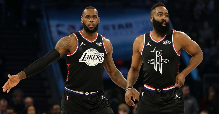 CHARLOTTE, NORTH CAROLINA - FEBRUARY 17: LeBron James #23 of the LA Lakers and James Harden #13 of the Houston Rockets both of Team LeBron look on as they play against Team Giannis in the first quarter during the NBA All-Star game as part of the 2019 NBA All-Star Weekend at Spectrum Center on February 17, 2019 in Charlotte, North Carolina.  NOTE TO USER: User expressly acknowledges and agrees that, by downloading and/or using this photograph, user is consenting to the terms and conditions of the Getty Images License Agreement. Mandatory Copyright Notice: Copyright 2019 NBAE (Photo by Streeter Lecka/Getty Images) Photo: Streeter Lecka/Getty Images