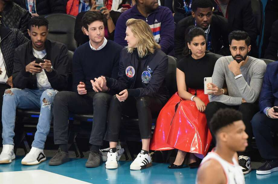 Celebrities sitting courtside at NBA All-Star Game