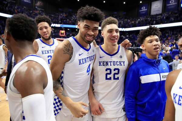 LEXINGTON, KENTUCKY - FEBRUARY 16: Nick Richards #4 and Reid Travis #22 of the Kentucky Wildcats celebrate after the win against Tennessee Volunteers at Rupp Arena on February 16, 2019 in Lexington, Kentucky. (Photo by Andy Lyons/Getty Images)